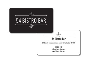 54 Bistro Bar Business Cards